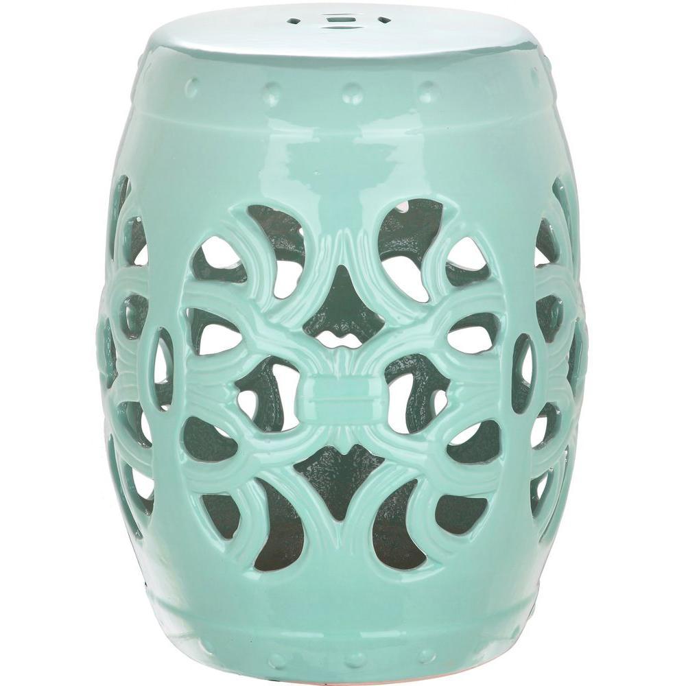 Imperial Vine Light Blue Ceramic Garden Stool