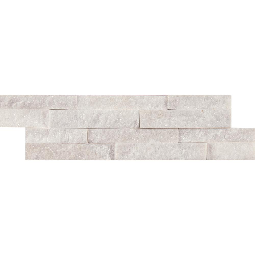 MSI Arctic White Mini Ledger Panel 4.5 in. x 16 in. Natural Marble Wall Tile (5 sq. ft. / case)