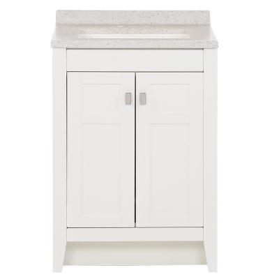 Bladen 24.5 in. W x 18.75 in. x 37.6 in. H Vanity in White with Solid Surface Vanity Top in Polar Gray with White Sink