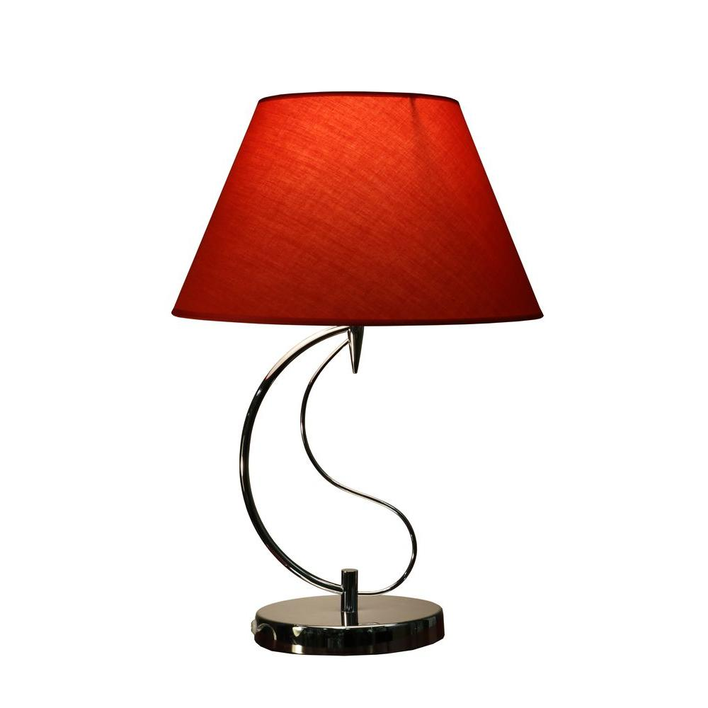 Red Indoor Chrome Table Lamp With Base And On Off Switch