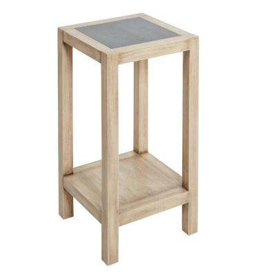 Mallory Gunmetal Gray and Wood Accent Table