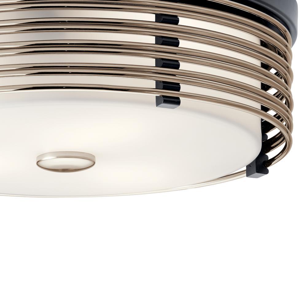 Kichler Bensimone 15 25 In 2 Light Black Flush Mount Ceiling Light With Satin Etched Cased Opal 43293bk The Home Depot