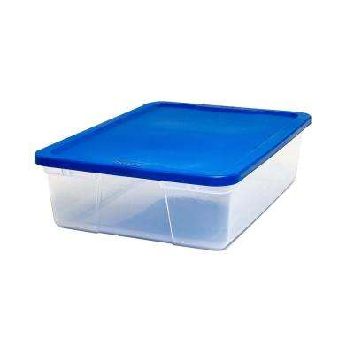 Snaplock 12 Quart Clear Storage Container with Blue Lid, Set of 8