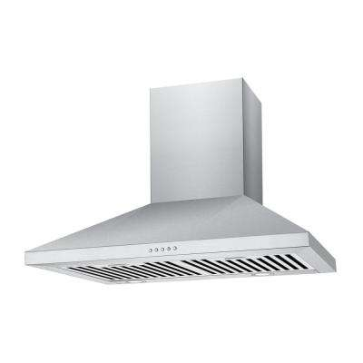 36 in. 500 CFM Convertible Wall Mount Range Hood with Light in Stainless Steel