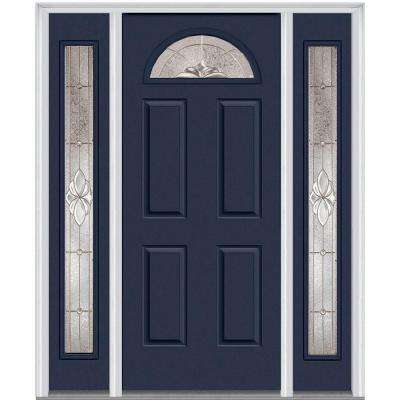60 in. x 80 in. Heirloom Master Right-Hand 1/4-Lite Decorative Painted Fiberglass Smooth Prehung Front Door w/ Sidelites