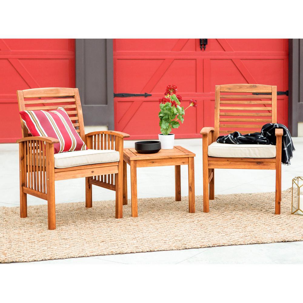 3-Piece Acacia Outdoor Dining Set with Tan Cushions