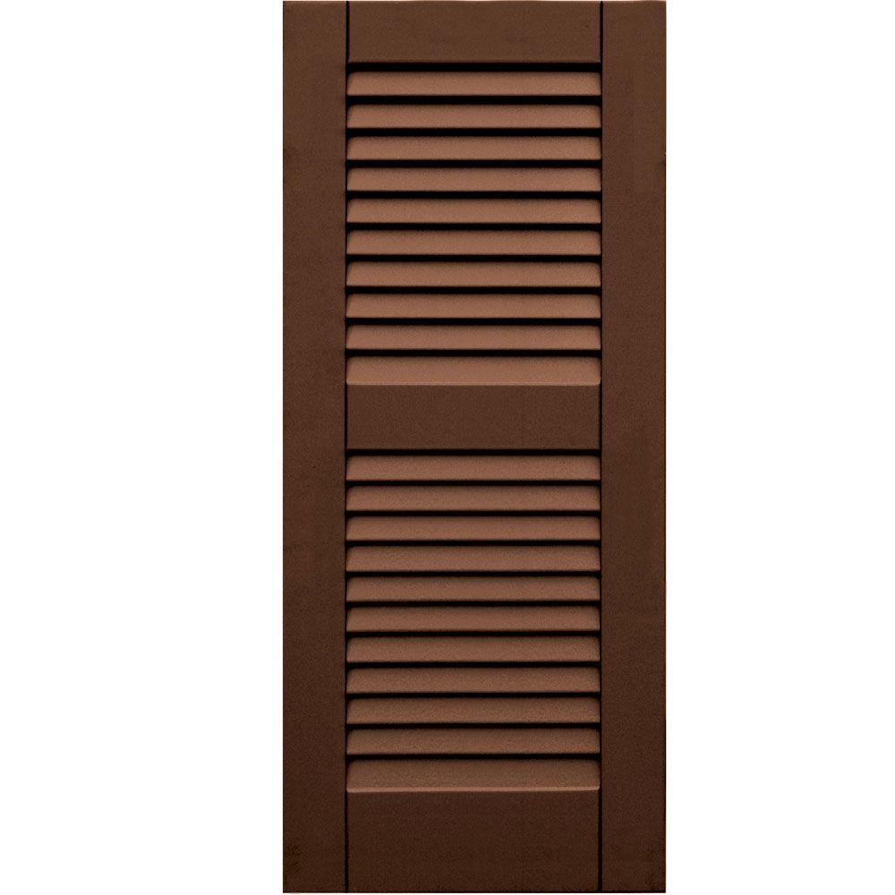 Winworks Wood Composite 15 in. x 35 in. Louvered Shutters Pair #635 Federal Brown