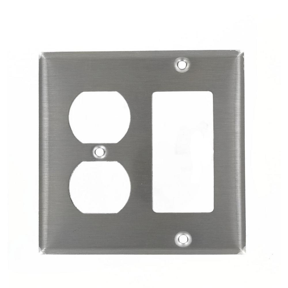 2gang 1duplex receptacle 1decora standard size stainless steel combination