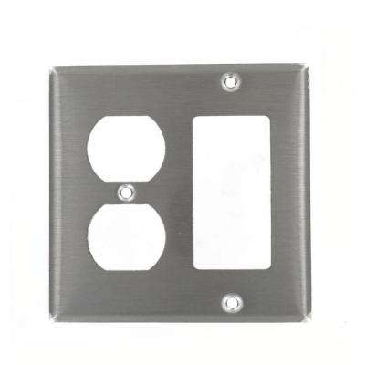 2-Gang 1-Duplex Receptacle 1-Decora Standard Size Stainless Steel Combination Wall Plate, Stainless Steel