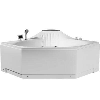 59 in. Acrylic Center Drain Corner Alcove Whirlpool Bathtub in White