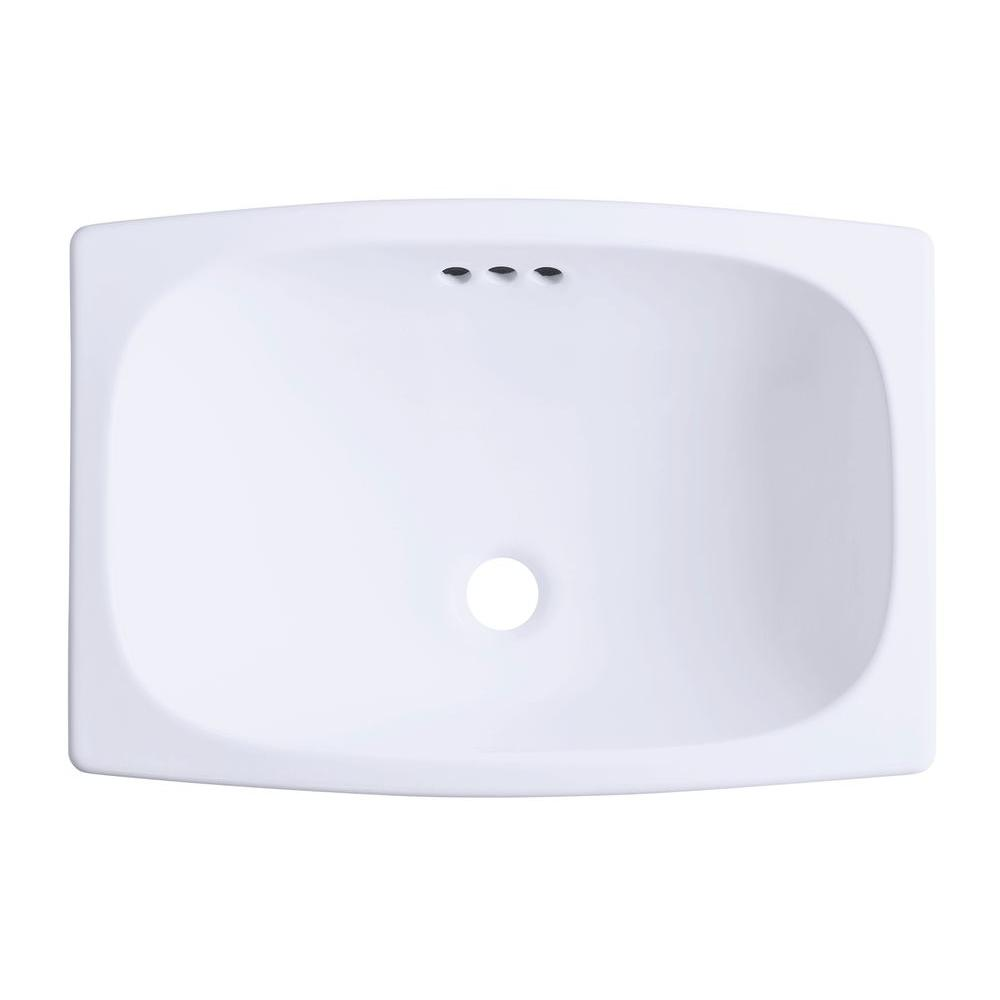 Stinson Drop In Vitreous China Bathroom Sink White With Overflow Drain