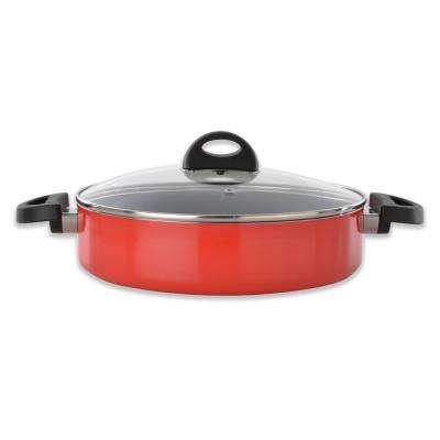 Eclipse 3.4 Qt. Aluminum Non-Stick Red Saute Pan with Lid