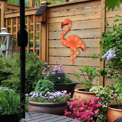 Indoor and Outdoor Pink Powder-coated Steel Flamingo Plug-in Marquee Light Lighted Sign