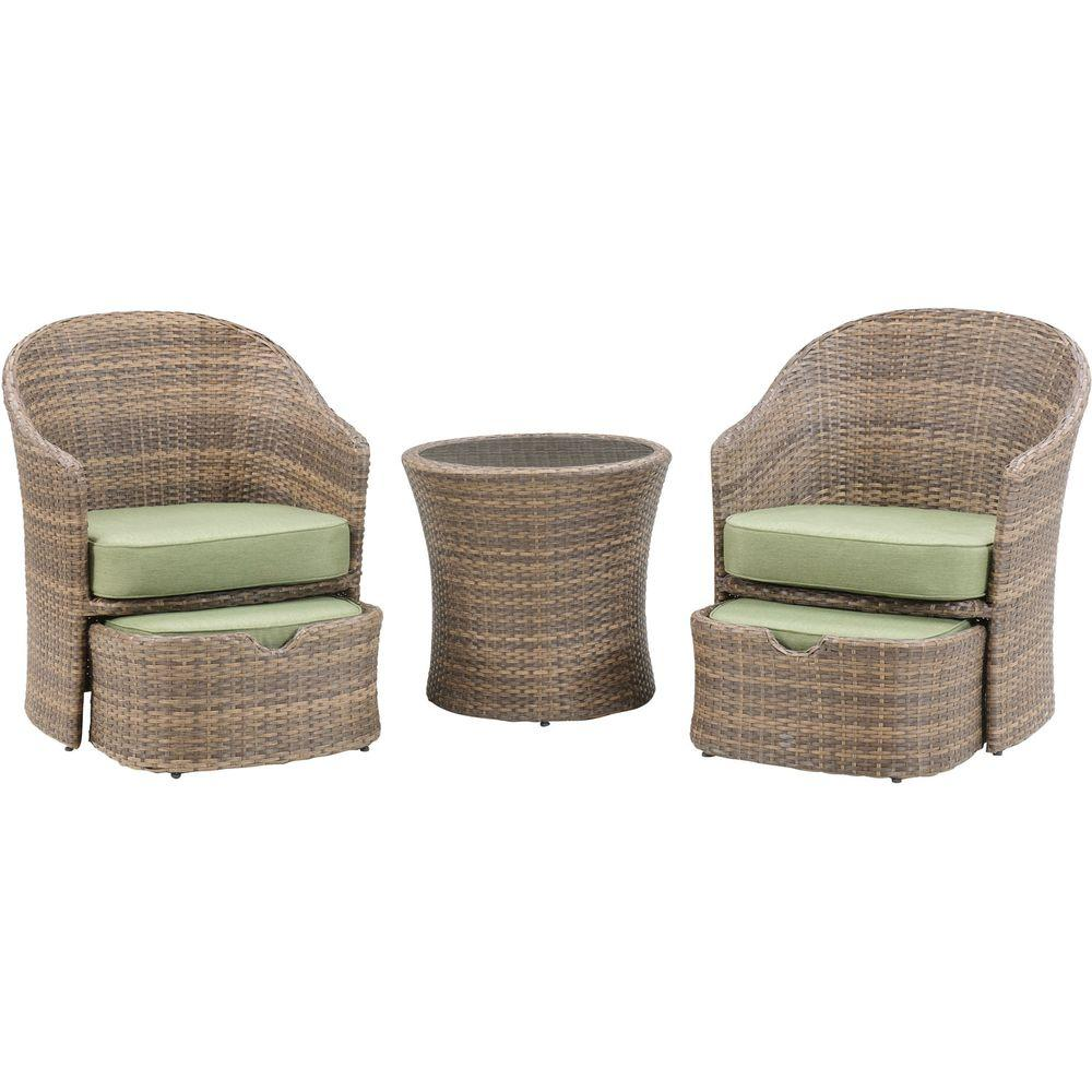 Hanover Seneca 5 Piece All Weather Wicker Patio Chat Set With Cilantro  Green Cushions