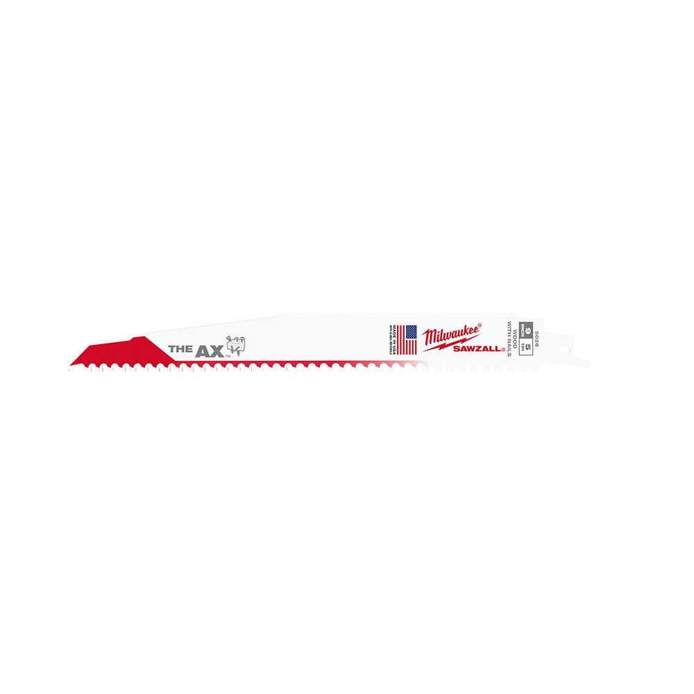 Milwaukee 9 in. 5/8 Teeth per in. AX Nail-Embedded Wood Cutting Reciprocating Saw Blades (25-Pack)