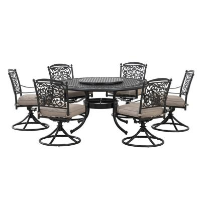Hobart 7-Pieces Aluminum Round Patio Dining Set with Lazy Susan and Gray Cushion