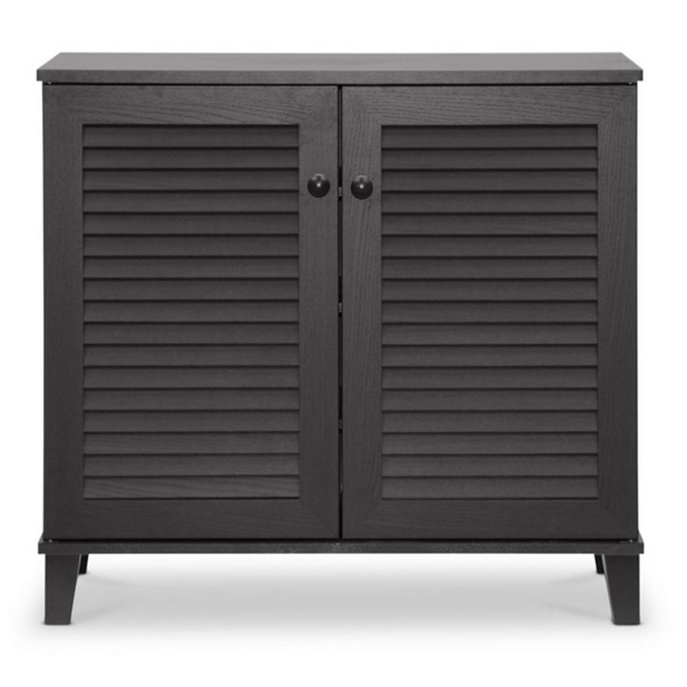 Coolidge Wood Shoe Storage Cabinet in Dark Brown