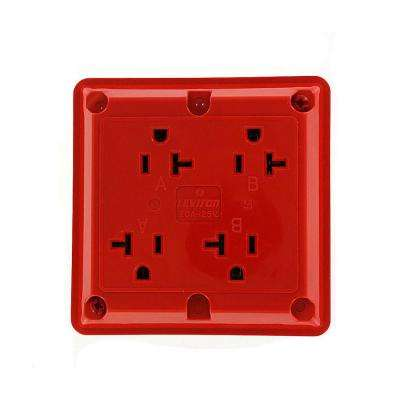 20 Amp Industrial Grade Heavy Duty 4-in-1 Grounding Outlet, Red