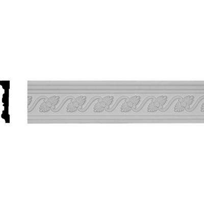 3/4 in. x 3-1/2 in. x 96 in. Polyurethane Diane Leaf and Ribbon Chair Rail Moulding