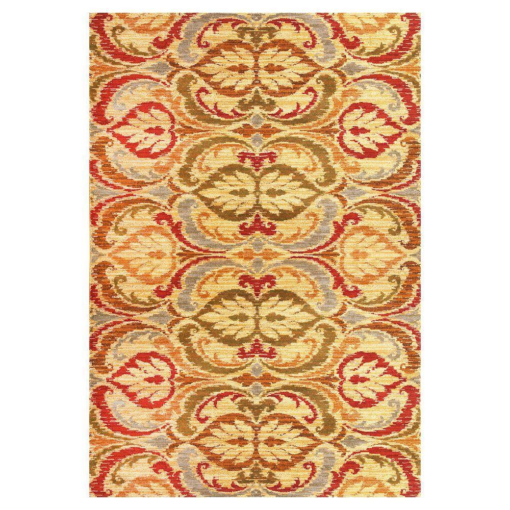 Tapestry Leaf Gold 3 ft. x 4 ft. Area Rug