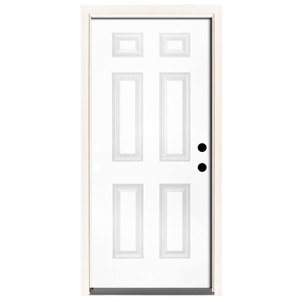 Steves & Sons 42 in. x 80 in. Premium 6 Panel Primed White Steel Prehung Front Door