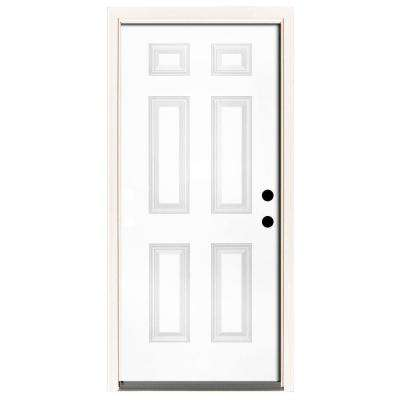 Genial Premium 6 Panel Primed White Steel Prehung Front Door