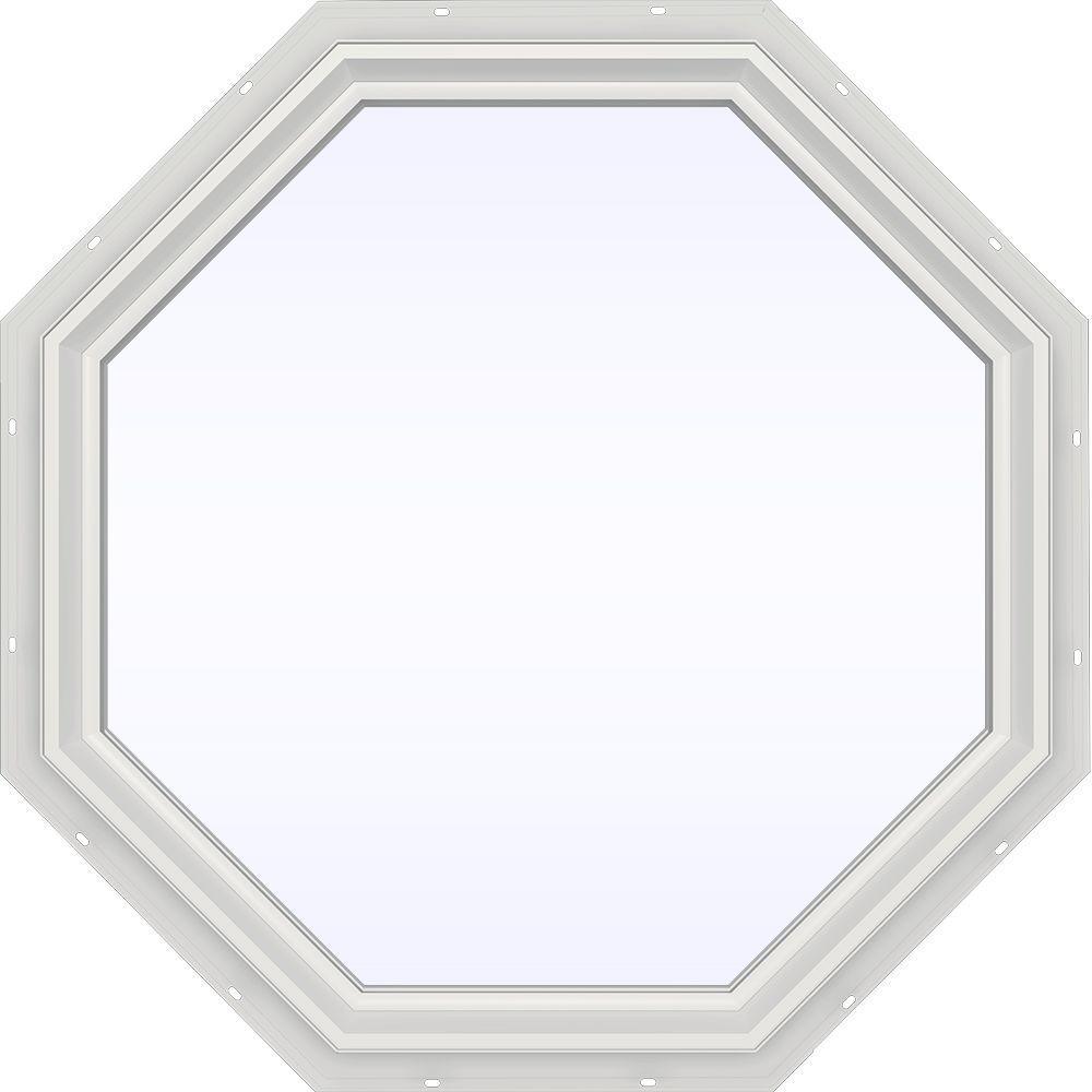 JELD-WEN 35.5 in. x 35.5 in. V-2500 Series White Vinyl Fixed Octagon Geometric Window w/ Low-E 366 Glass