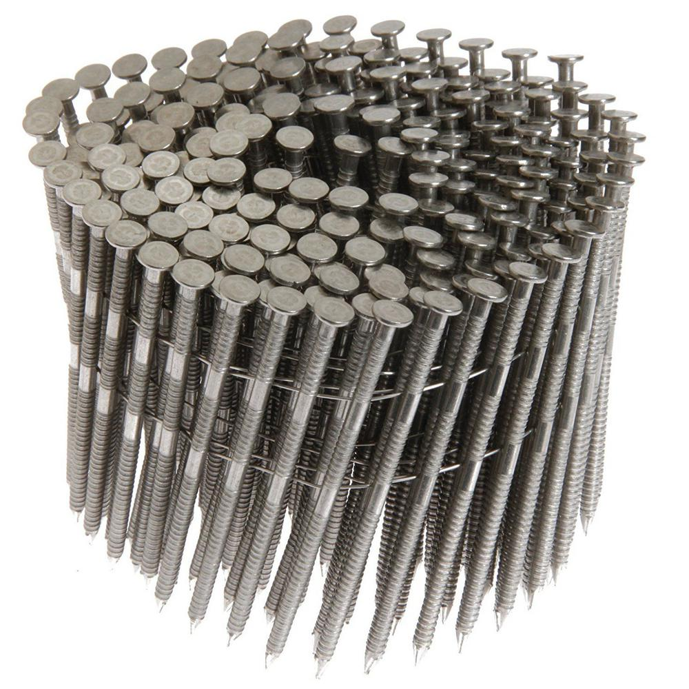 PrimeSource 1-1/4 in. x 0.09 in. 15-Degree Ring Shank Stainless Steel Wire Coil Siding Nail (1,200 per Box)