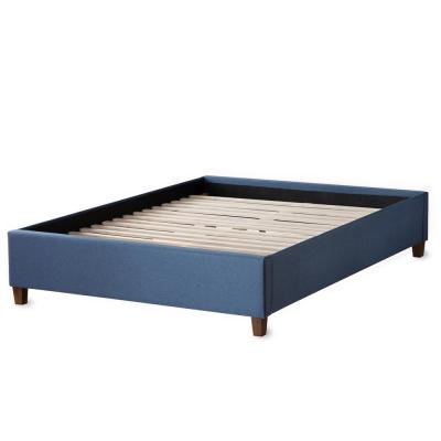 Ava Navy Twin Upholstered Platform Bed with Slats