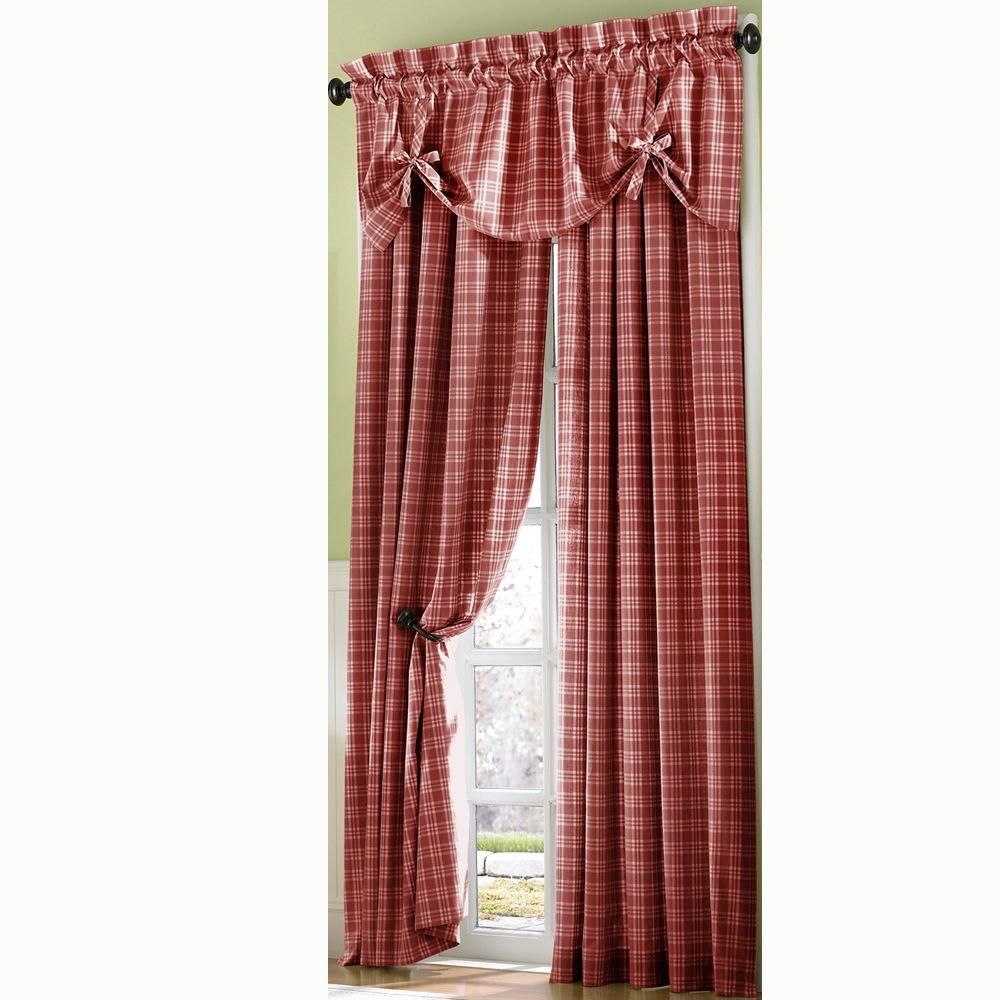 Curtainworks Semi-Opaque RedCountry Plaid Cotton Panel- 50 in. W x 63 in. L