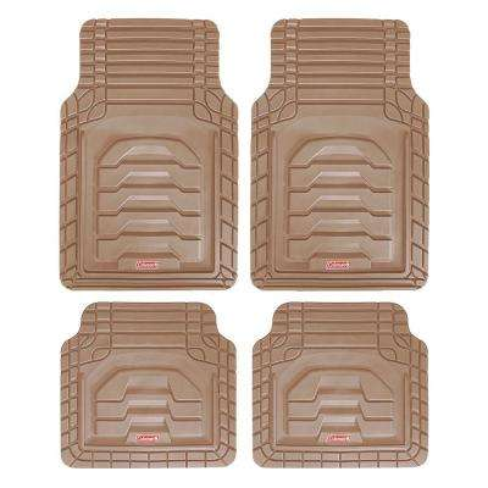 Beige All Weather 4-Piece 28.5 in. x 18.5 in. Adventure Class PVC Car Mat