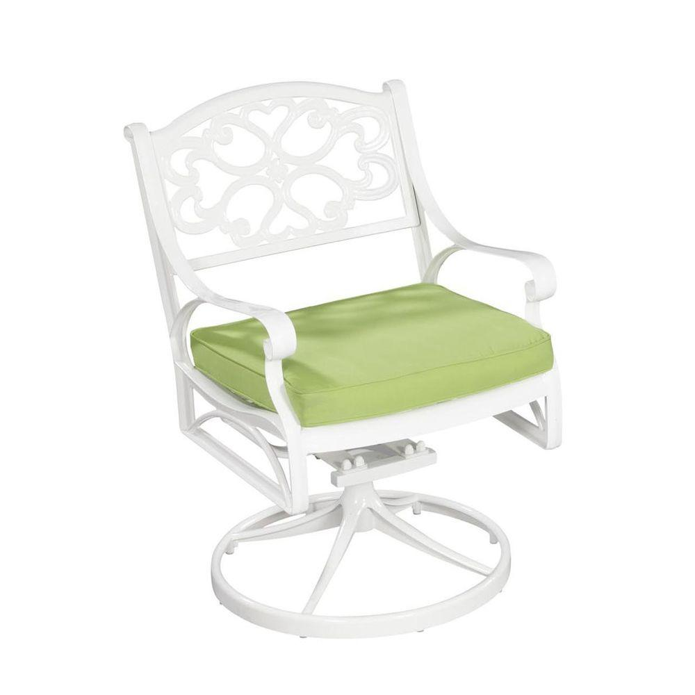 Home Styles Biscayne White Patio Swivel Chair with Cushion