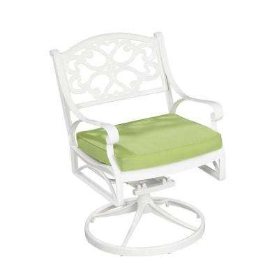 Biscayne White Patio Swivel Chair with Cushion