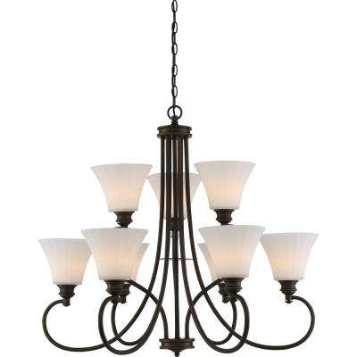 9-Light Aged Bronze Chandelier with White Fabric Shade