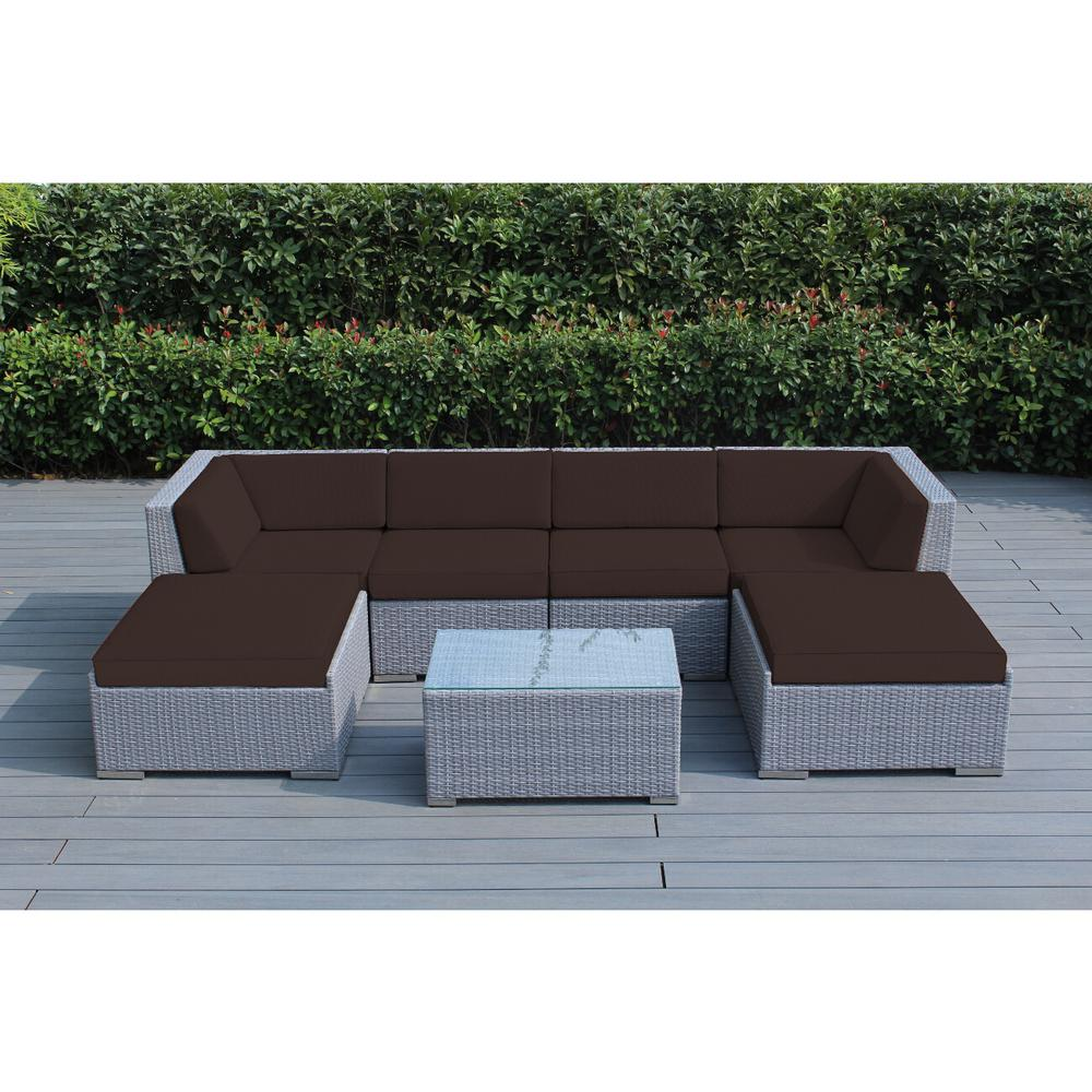 Ohana gray 7 piece wicker patio seating set with spuncrylic brown cushions