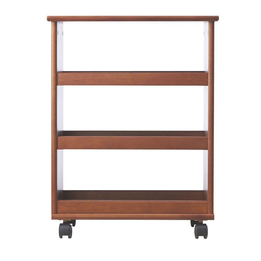 Stanton 20 in. W Multi-Function 3-Shelf Storage Cart in Walnut