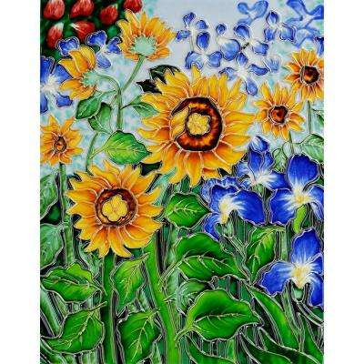 Van Gogh, Sunflowers and Irises Trivet and Wall Accent 11 in. x 14 in. Tile (felt back)