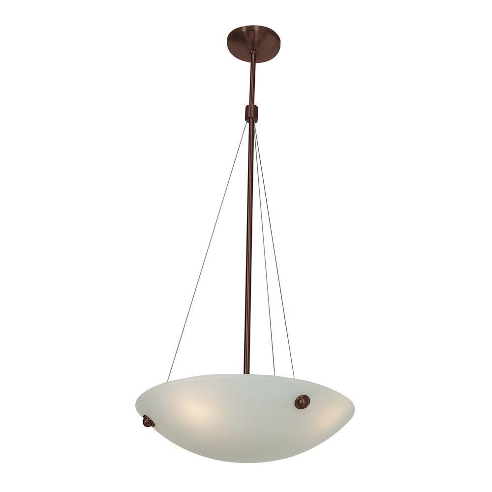 Noya 4-Light Bronze Pendant with WhiteGlass Shade
