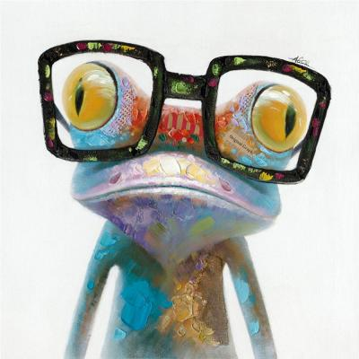 "20 in. H x 20 in. W ""Hipster Froggy II"" Artwork in Cotton Canvas Wall Art"