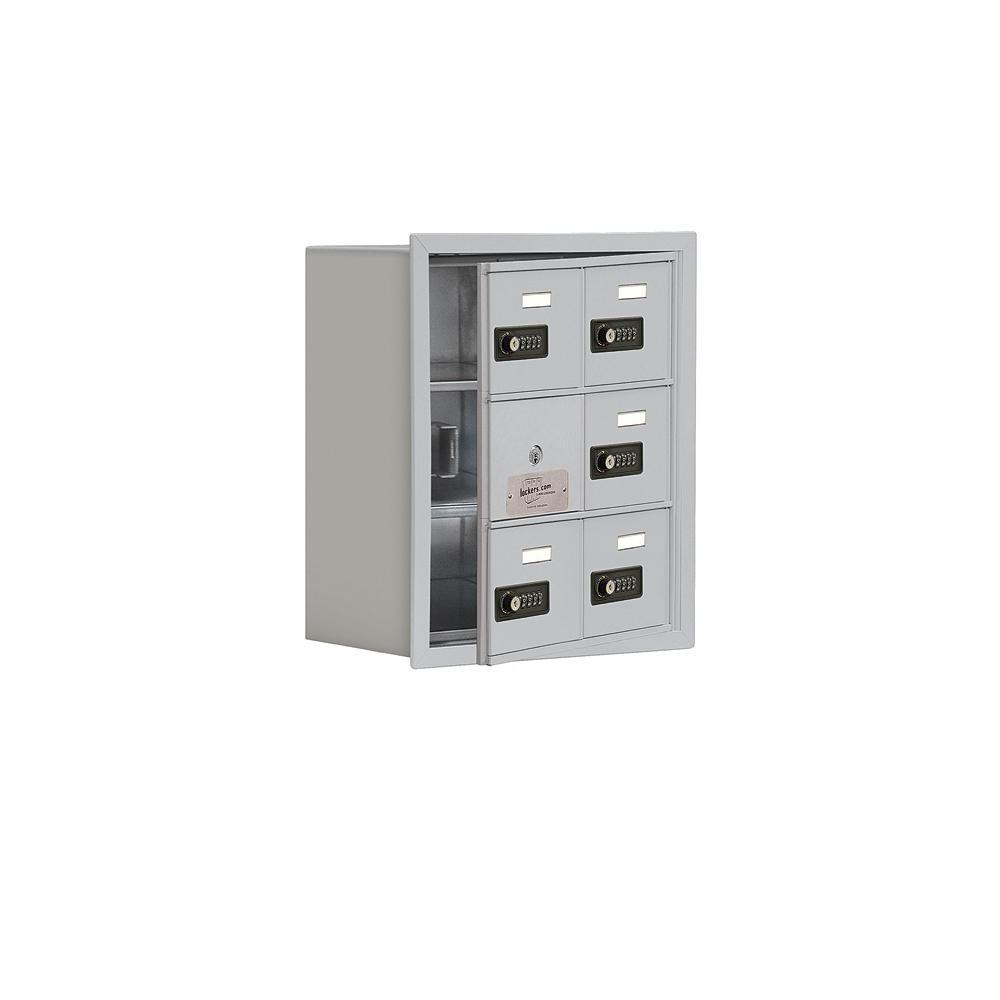 19100 Series 16.25 in. W x 18.75 in. H x 8.75 in. D 5 Doors Cell Phone Locker Recess Mount Resettable Lock in Aluminum