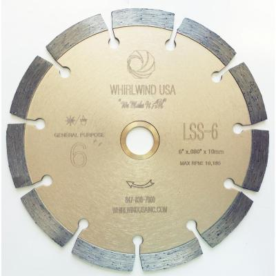 6 in. 11-Teeth Segmented Diamond Blade for Dry or Wet Cutting Concrete, Stone, Brick and Masonry