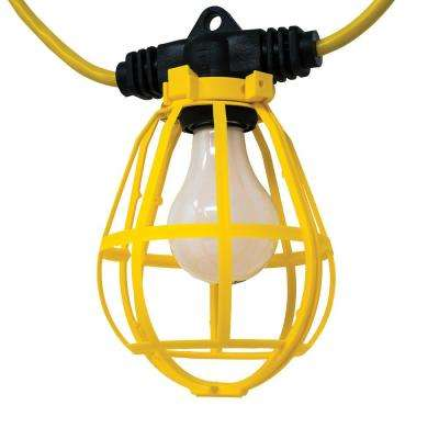 100 ft. 14/3 SJTW 10-Light Plastic Cage Light String - Yellow