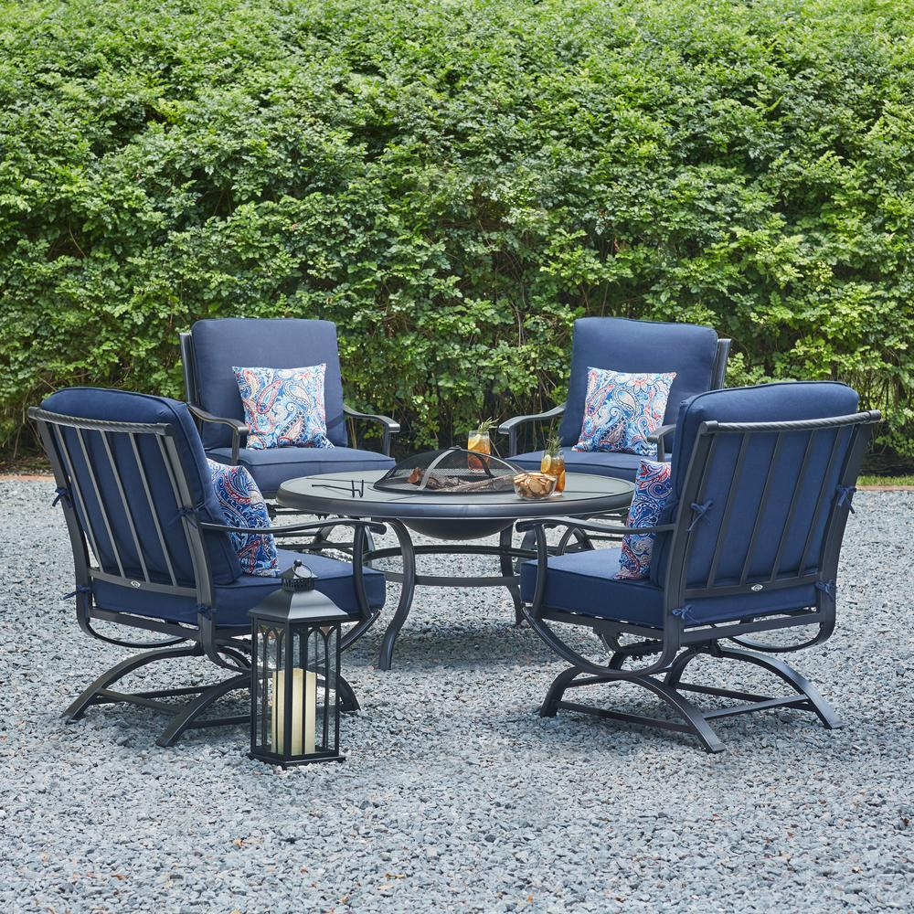 Hampton Bay Steel Patio Fire Pit Seating Set Rock Midnight ...