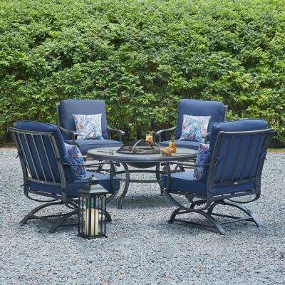 Redwood Valley Steel 5 Piece Patio Fire Pit Seating Set With Rock Midnight Cushions