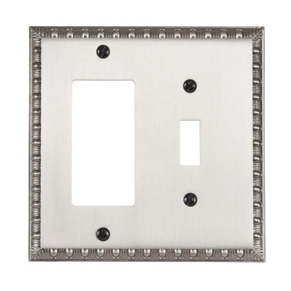 Antiquity 2 Gang 1-Toggle and 1-Rocker Metal Wall Plate - Antique Nickel