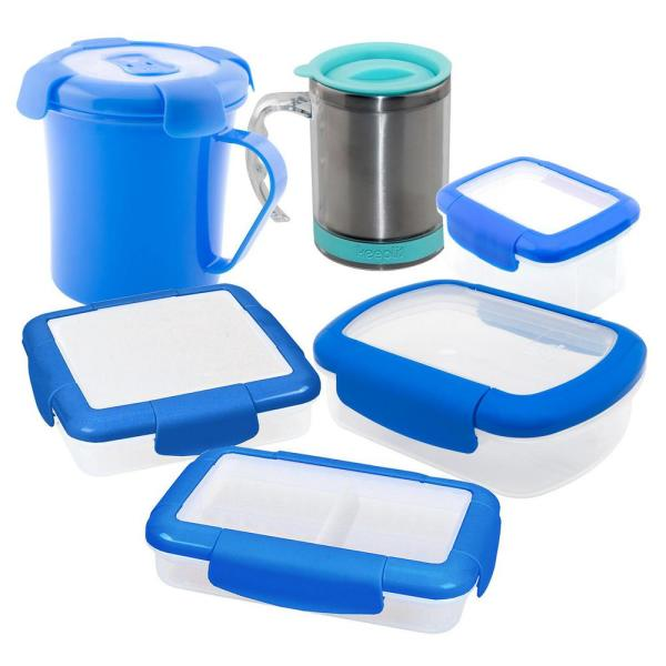 Keeplit Keep Go 6 Piece Food Storage Container Orted Pack In Blue