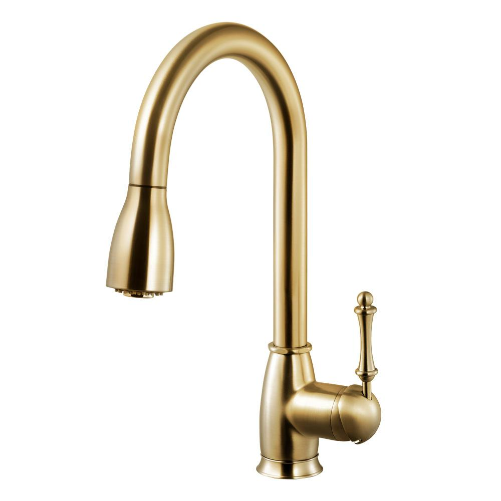 HOUZER Camden Single-Handle Pull Down Sprayer Kitchen Faucet with CeraDox  Technology in Brushed Brass