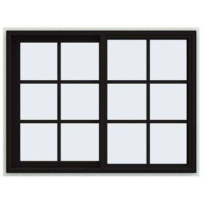 48 in. x 36 in. V-4500 Series Black FiniShield Vinyl Left-Handed Sliding Window with Colonial Grids/Grilles