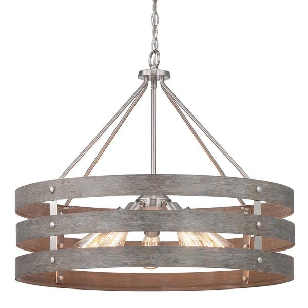 Gulliver 5-Light Brushed Nickel Chandelier with Weathered Gray Wood Accents