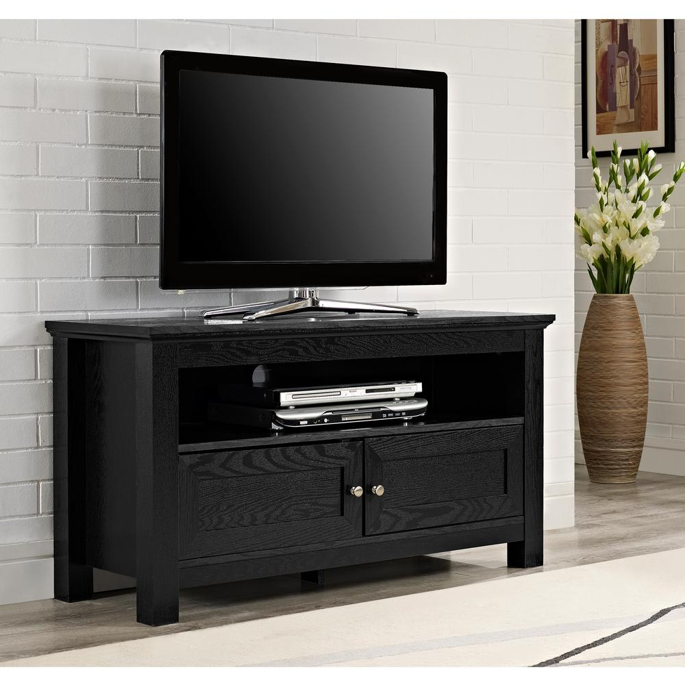 Elegant Walker Edison Furniture Company Cortez Black Entertainment Center